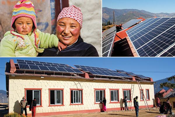 SunFarmer installing panels in Nepal
