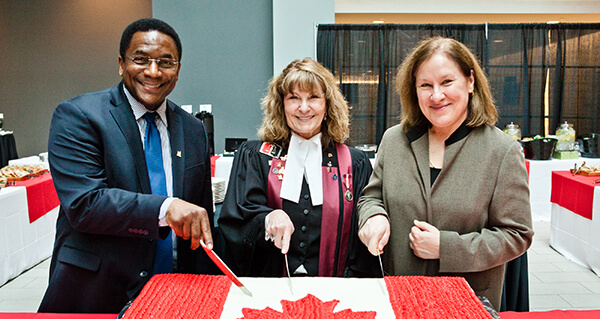 Toronto City Councillor Michael Thompson, Judge Joyce Frustaglio and MaRS CEO Dr. Ilse Treurnicht helped welcome new citizens