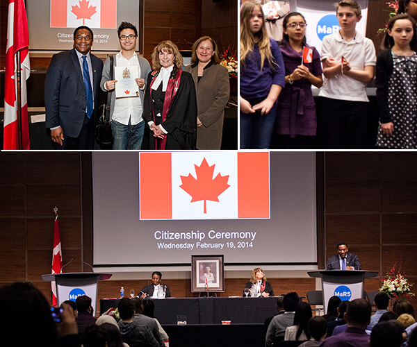 Scenes from the citizenship ceremony at MaRS