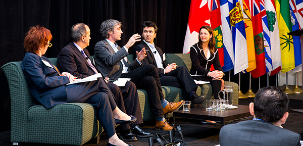 Patrice Merrin, Gaetan Thomas, Tom Rand, Ali Haj-Fraj and Lisa DeMarco discuss energy innovation momentum in Canada