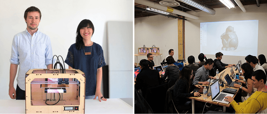 Hot Pop Factory co-founders Matt Compeau and Bi-Ying Miao and a 3-D printing workshop