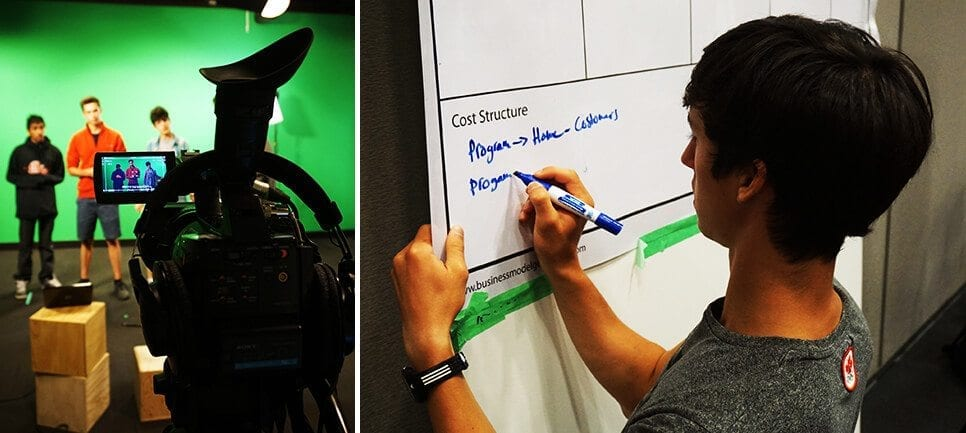 Senior cohort group filming video (left) and student drafting business model (right)