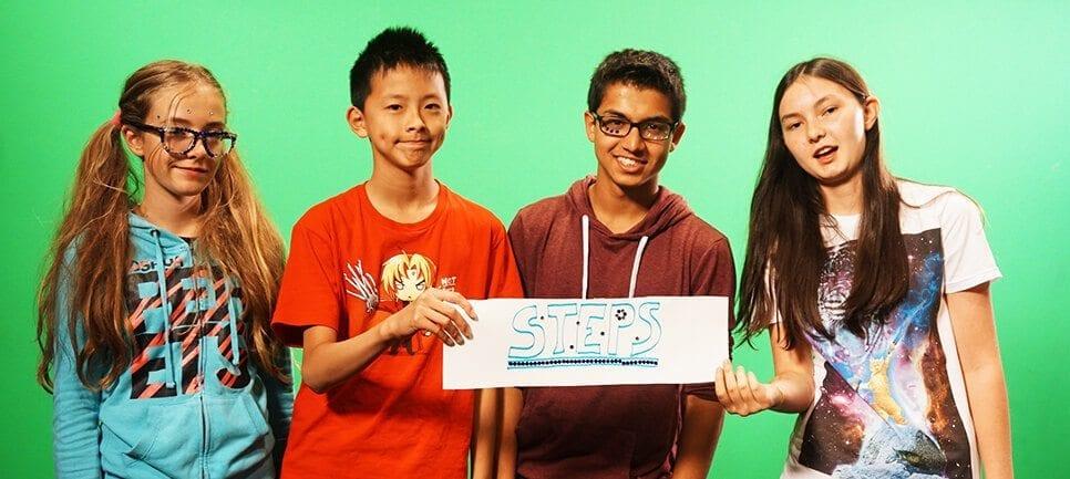 Junior cohort group filming promotional video at Studio Y