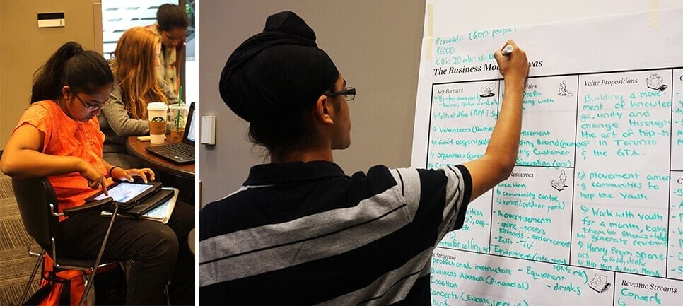 Student researching (left) and student completing business canvas model (right)