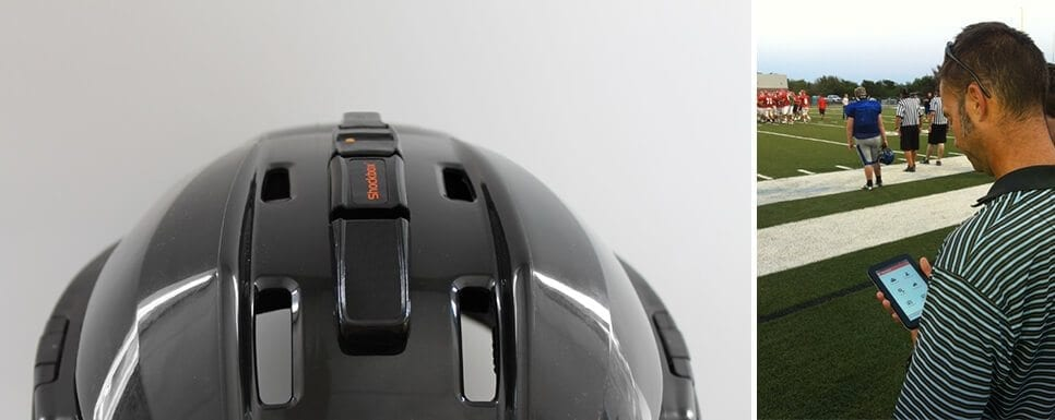ShockBox helmet sensor (left) and smartphone app (right)