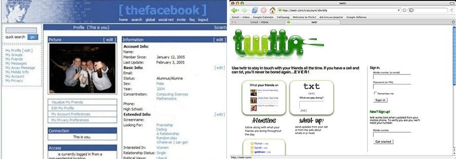 Twitter Facebook old versions