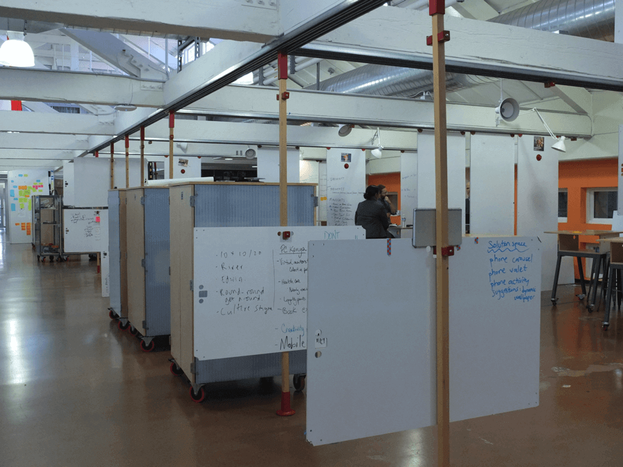 Spatial Design Stanford d.school whiteboards