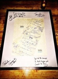 Framed napkin drawing that led to Kobo