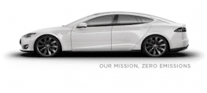 Tesla Model S white our mission zero emissions
