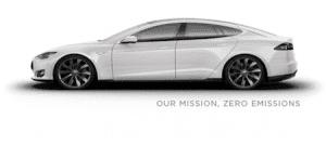 Tesla Model S white our mission zero emissions