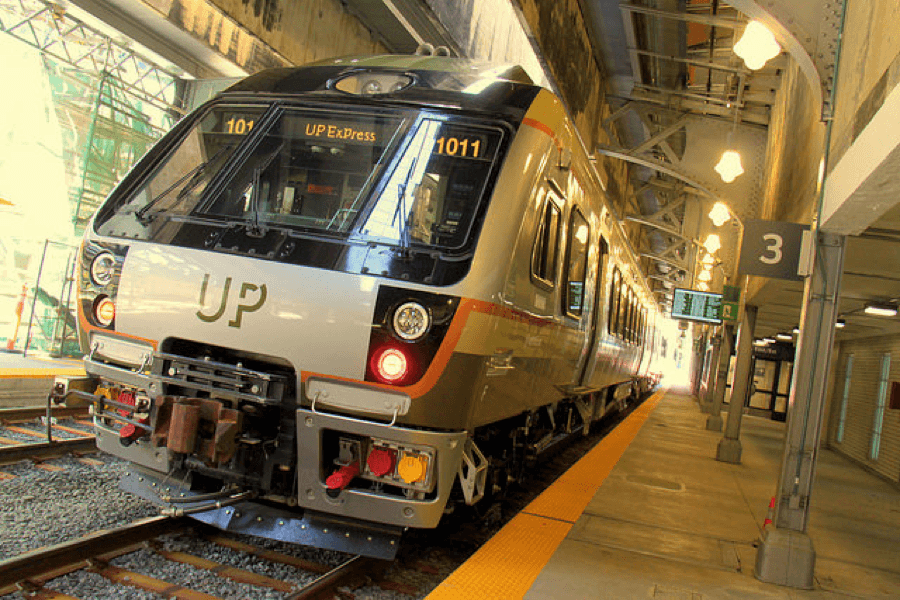 Union Pearson Express train parked at Union Station