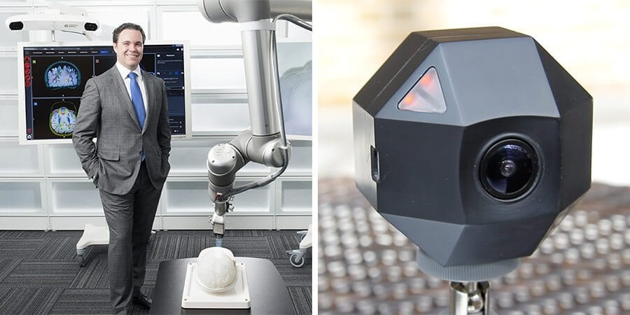Left: Cameron Piron, co-founder and president of Synaptive Medical. Right: ZEITDICE timelapse camera.