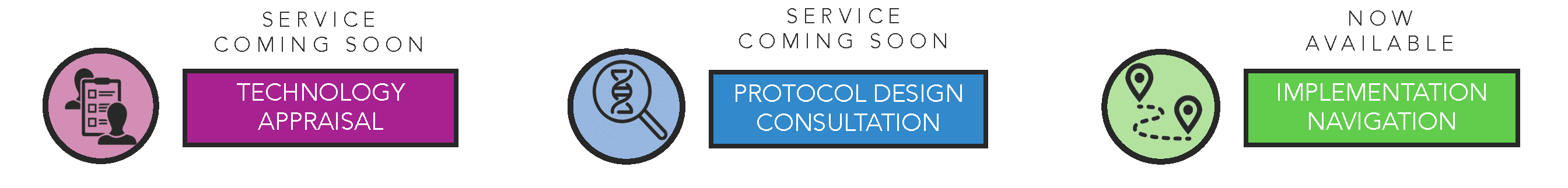 Service coming soon: Technology appraisal; Service coming soon: Protocol design consultation; Now available: Implementation navigation.