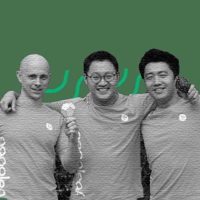 Christian Yan, COO; Gimmy Chu, CEO; Tom Rodinger, CTOe